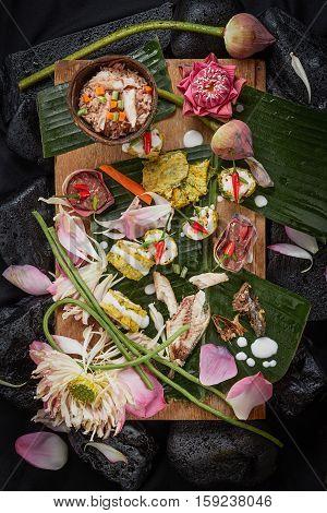 Fried Acacia Pennata, Climbing Wattle  and fried mackerel(Thai Food).