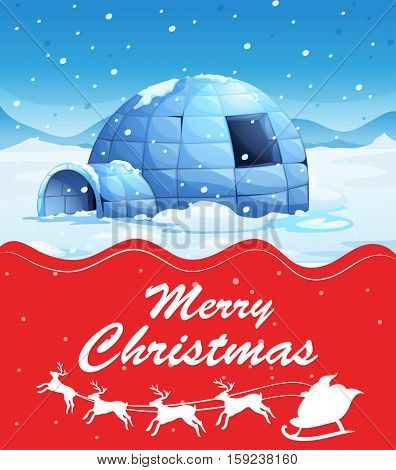 Christmas card template with igloo on snow ground illustration