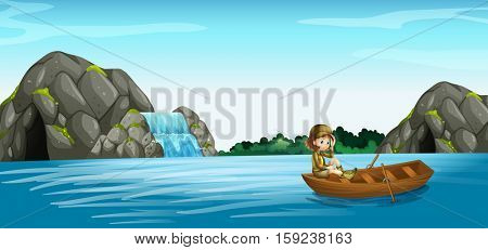 Nature scene with girl in rowboat illustration