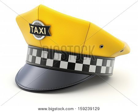 Yellow taxi driver cap on white background - 3D illustration
