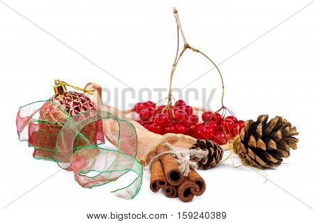 Viburnum branch with berries cinnamon sticks pine cones and ribbon isolated on white background. Christmas theme.