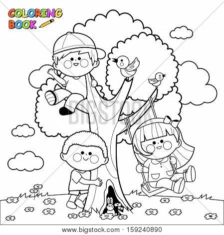 Vector Illustration of children playing and climbing on a tree. Coloring book page.