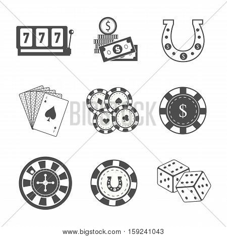 Set of Gambling Accessories vector. Flat style. Slot machine, horseshoe, chips cards, dice, money roulette Illustrations for gambling industry, sport lottery services, icons, web pages, logo design.