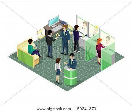 Premises of the bank vector concept in isometric projection. Bank interior with personal and clients. Illustration for business and finance companies ad, apps design, icons, infographics.