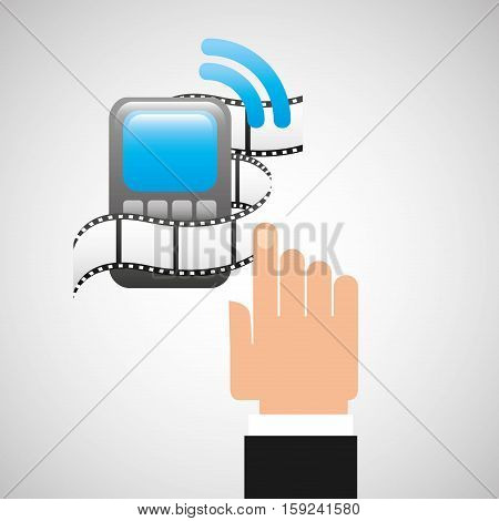 hand gadget player wifi movie vector illustration eps 10