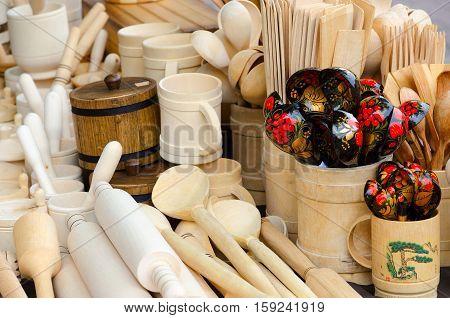 Wooden kitchen utensils close-up (street trading on Slavic Bazaar in Vitebsk) Belarus