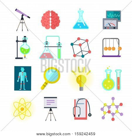 Set of colorful science icons. Symbols of different sciences tube, metronome, magnifying glass, brain, telescope, stethoscope, light, measuring device. Scientific research learning science test