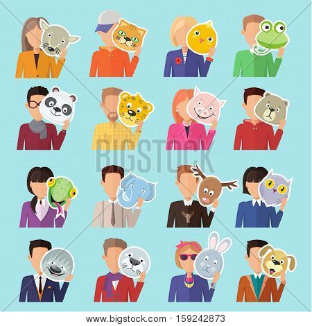 Set of different people with various animal masks in hand vector. Flat design. Masquerade animal clothing and party costume. Psychological portrait and hidden personality. Isolated on blue background