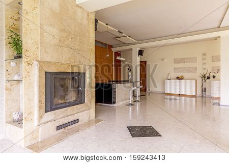 Living Room With The Marble Fireplace