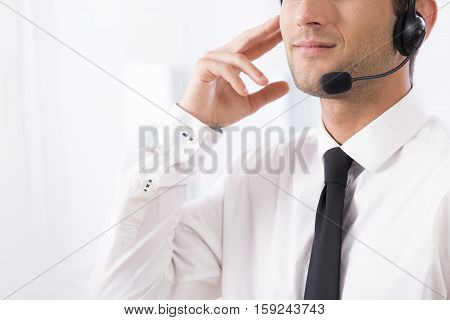 Elegant Man Using Headphones