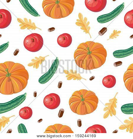 Autumn harvest conceptual vector seamless pattern. Flat design. Ripe pumpkins, zucchini, apples, acorns, oak leaves on white background. Vegetable ornament. For wrapping, printings, grocery ad