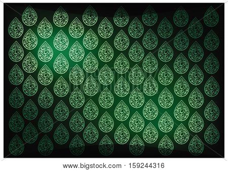 Thai Foral Pattern Illustration of Beautiful Green Vintage Texture Background for Add Content or Picture..