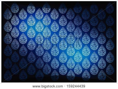 Thai Foral Pattern Illustration of Beautiful Blue Vintage Texture Background for Add Content or Picture..