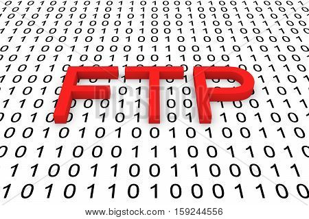 FTP in binary code background, 3D illustration