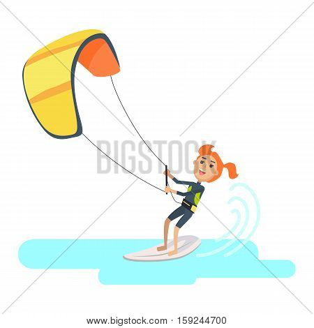 Woman takes part at kite surfing Spain festival isolated on white. Kitesurfing is style of kiteboarding. Girl windsurfing on water surface with air kite. Water sport vector illustration in flat style