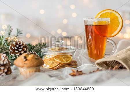 Christmassy Table With Tea Glass