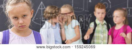 Sad School Girl, Kids Backbiting Her