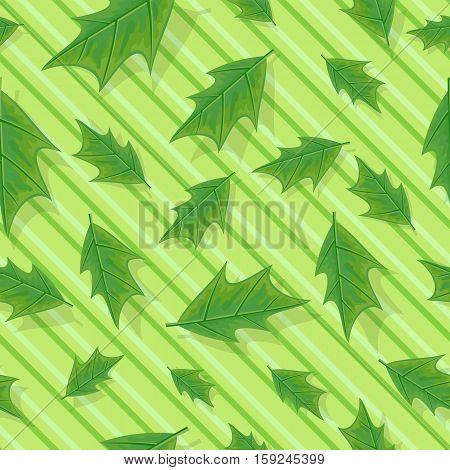 Leaves vector seamless pattern. Flat style illustration. Falling green tree leaves on striped background. Autumn defoliation. For wrapping paper, greeting card, invitation, printing materials design