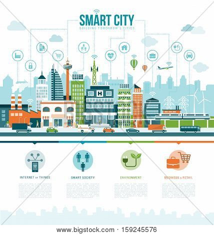 Smart contemporary city infographics with icons: augmented reality smart services and internet of things concept