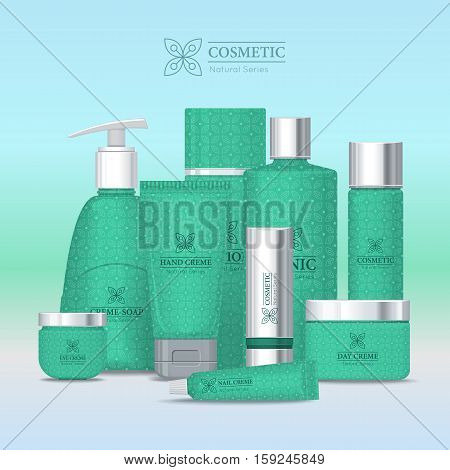 Natural series cosmetic set isolated. Hand cream, cream soap, eye cream, lotion, tonic, nail cream, day and night cream, shampoo, scrub. Part of series of decorative cosmetics items. Vector