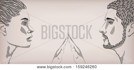 Woman anda male loving couple tender touch touching hands love face to face profile. Vector horizontal beautiful lovely sign signboard close-up side view illustration beige background