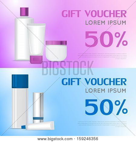 Gift voucher cosmetics template. Present for 50 percentage discount. Certificate coupon on buying professional natural organic sea cosmetics. Part of series of decorative cosmetics items. Vector