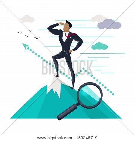 Businessman searching for promising opportunities. Successful young businessman standing on top of mountain and look into the distance. Business winner. Conceptual business idea, banner poster in flat
