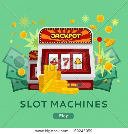 Casino gambling website template. Chips stacks, slot machines and money on green background. Banner for online casino. Jackpot concept. Vector illustration. Casino background