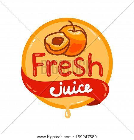 Colorful fresh apricot juice emblem, vector illustration for your design.