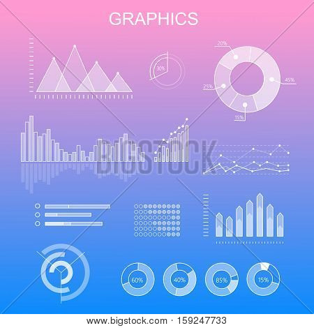 Data tools finance diagram and graphic. Chart and graphic vector, business diagram data finance, graph report, information data statistic, infographic analysis tools. Infographic elements
