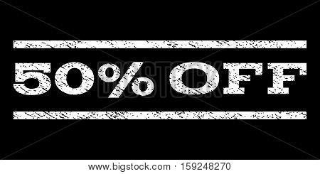 50 Percent Off watermark stamp. Text tag between horizontal parallel lines with grunge design style. Rubber seal white stamp with dust texture. Vector ink imprint on a black background.