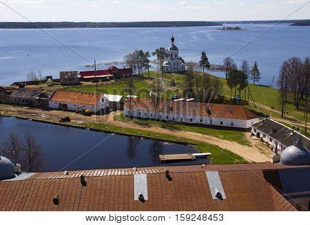 City Ostashkov in Russia on Lake Seliger in the sunlight