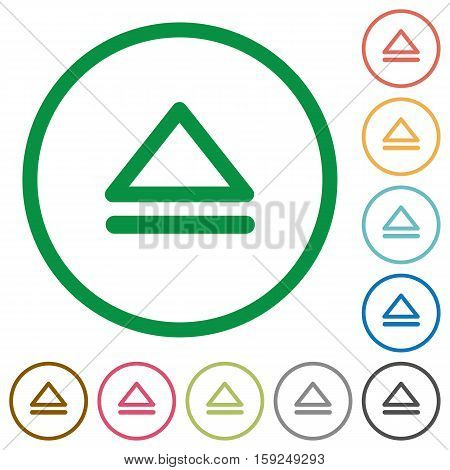 Media eject flat color icons in round outlines