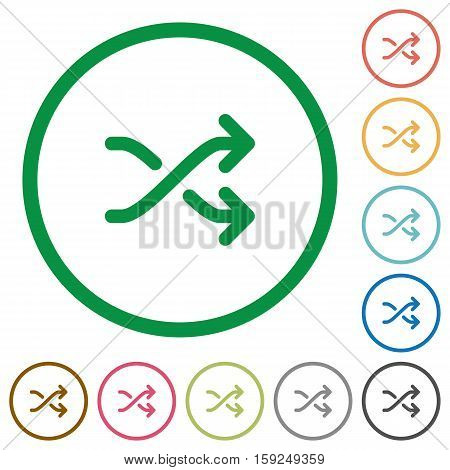 Media shuffle flat color icons in round outlines