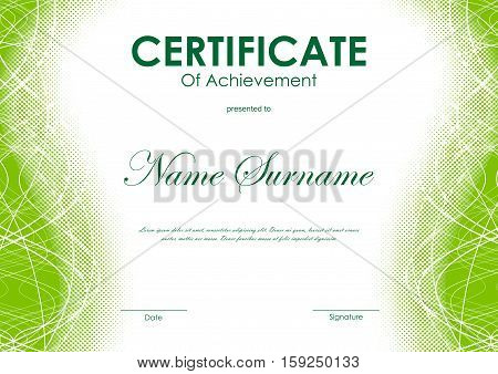 Certificate of achievement template with green digital curved bright wavy halftone background. Vector illustration