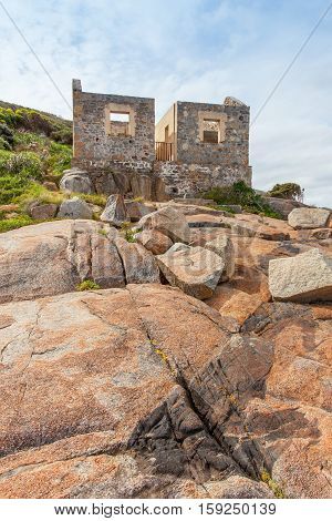 The ruins of the old lighthouse keeper's house at King Point in Albany, Western Australia.
