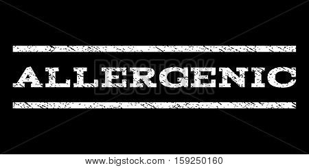 Allergenic watermark stamp. Text caption between horizontal parallel lines with grunge design style. Rubber seal white stamp with unclean texture. Vector ink imprint on a black background.