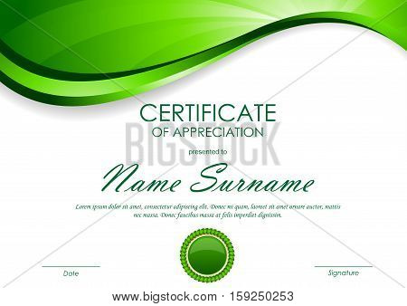 Certificate of appreciation template with green dynamic light wavy swirl background and seal. Vector illustration