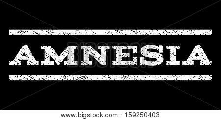 Amnesia watermark stamp. Text caption between horizontal parallel lines with grunge design style. Rubber seal white stamp with dust texture. Vector ink imprint on a black background.