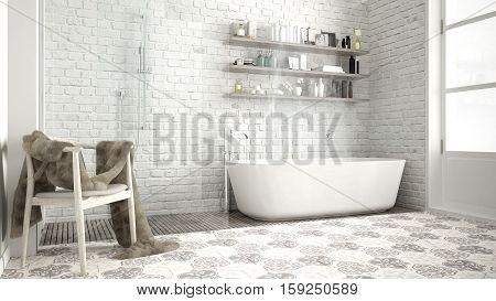 Scandinavian bathroom classic white vintage interior design, 3d illustration