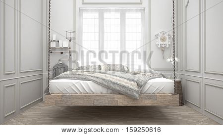 Recycled bed hanging wooden chaise scandinavian bedroom white interior design, 3d illustration