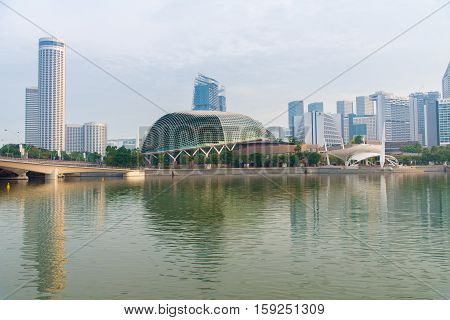 Esplanade Concert Hall with Central Business District in the background Singapore