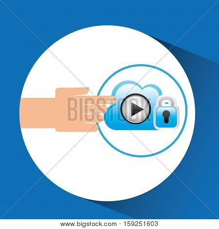 hand cloud player security vector illustration eps 10