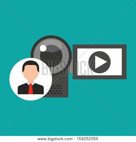 character man digital video camera media vector illustration eps 10