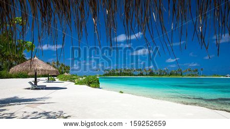 sea in Maldives. tropical beach in Maldives with  blue lagoon