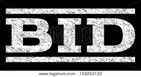Bid watermark stamp. Text caption between horizontal parallel lines with grunge design style. Rubber seal white stamp with dirty texture. Vector ink imprint on a black background.