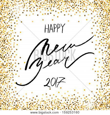 Happy New Year Lettering. Handwritten greeting card. Shiny gold background. Vector illustration. Gold glittering confetti.
