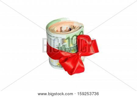 Christmas euro cash present with red bow Isolated on white background