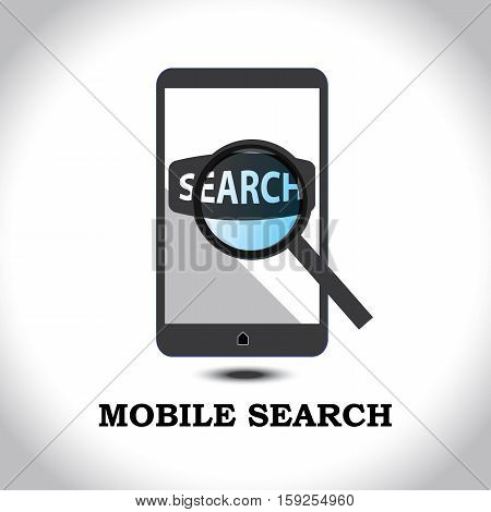 Illustration of magnifying glass with search tab in a mobile device.