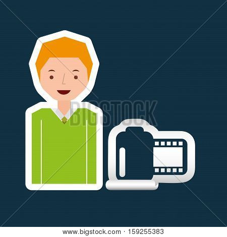 cartoon roll camera photo guy design vector illustration eps 10
